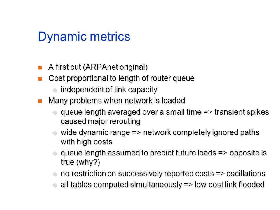 Dynamic metrics A first cut (ARPAnet original)