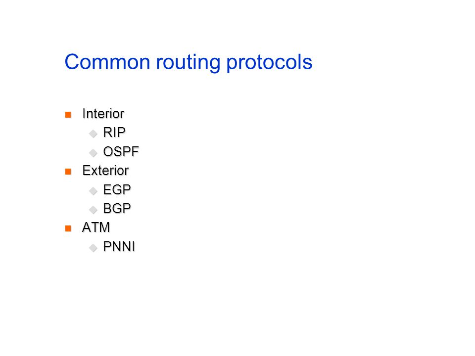 Common routing protocols
