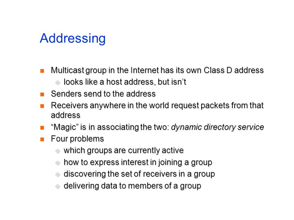 Addressing Multicast group in the Internet has its own Class D address