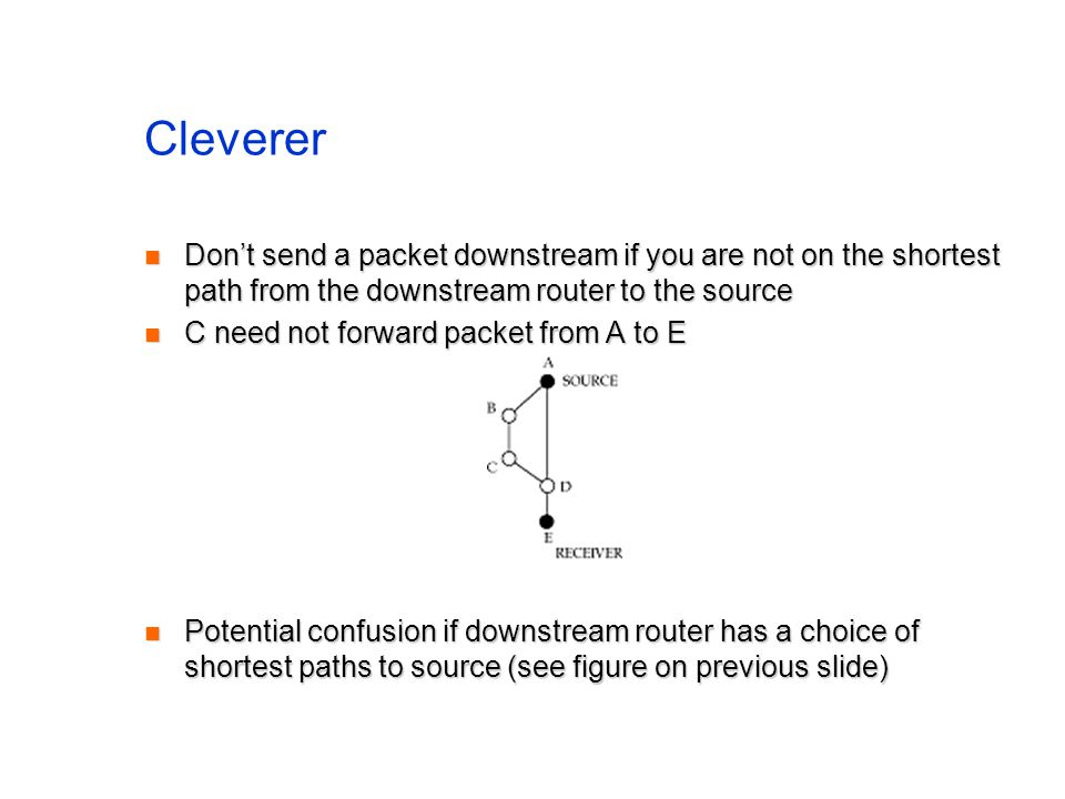 Cleverer Don't send a packet downstream if you are not on the shortest path from the downstream router to the source.