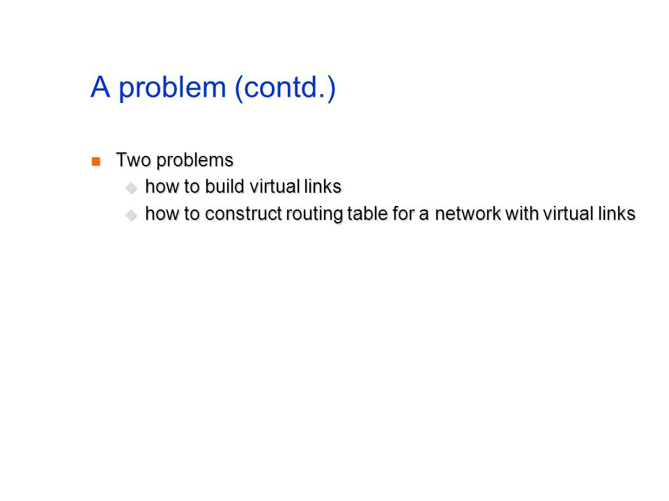 A problem (contd.) Two problems how to build virtual links