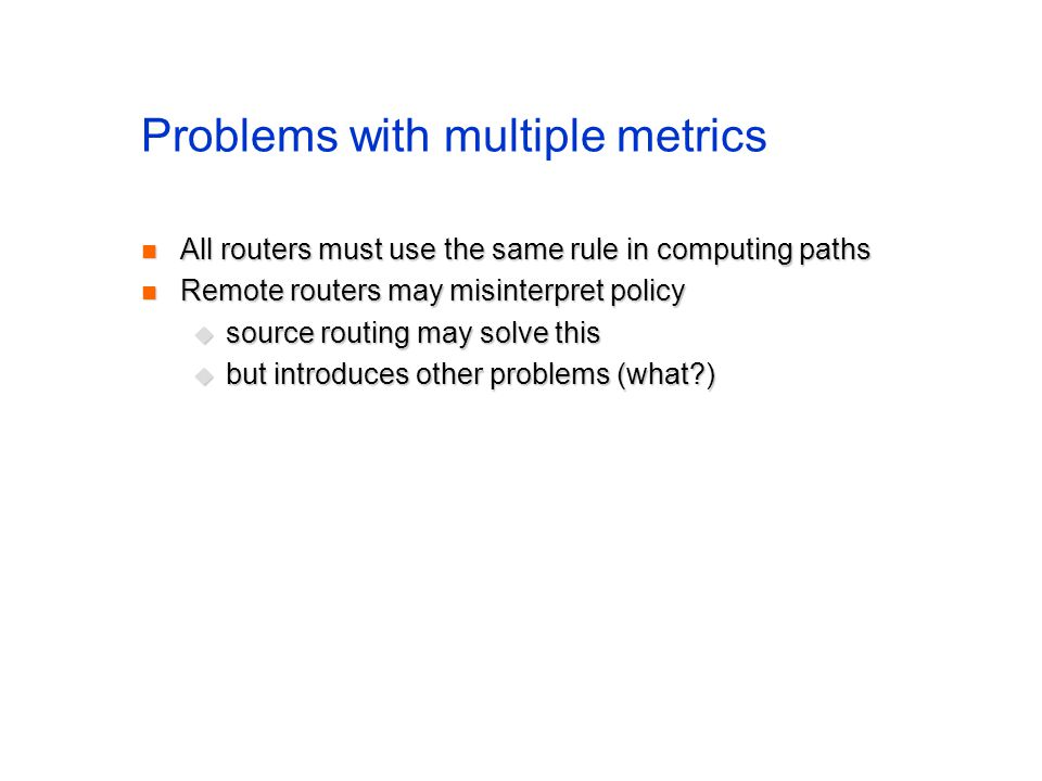 Problems with multiple metrics
