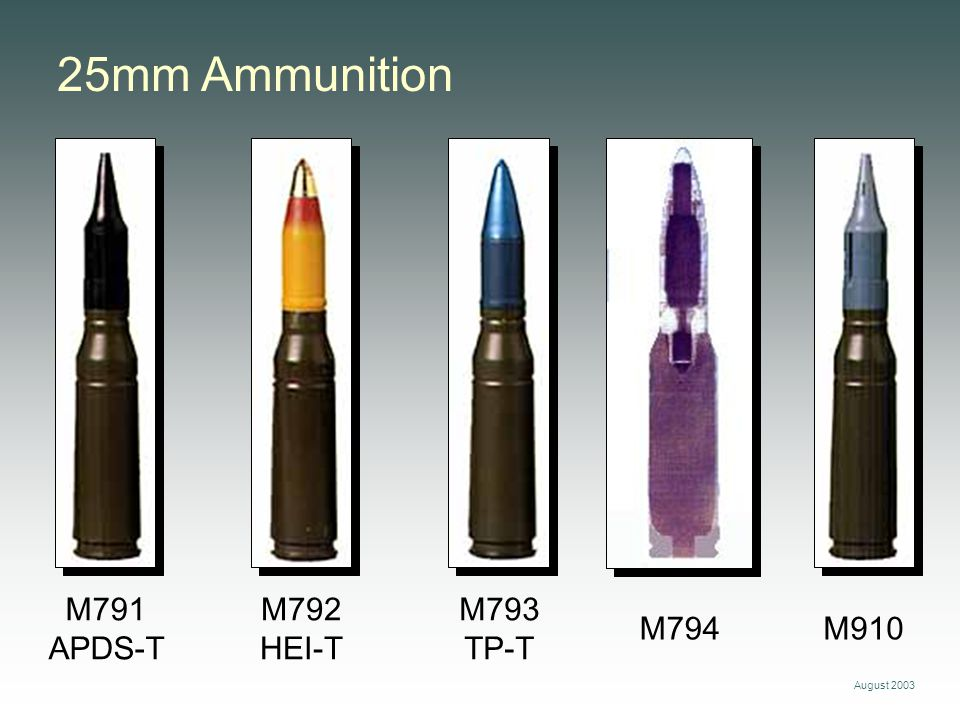 25mm Ammunition M791 APDS-T M792 HEI-T M793 TP-T M794 M910 August 2003