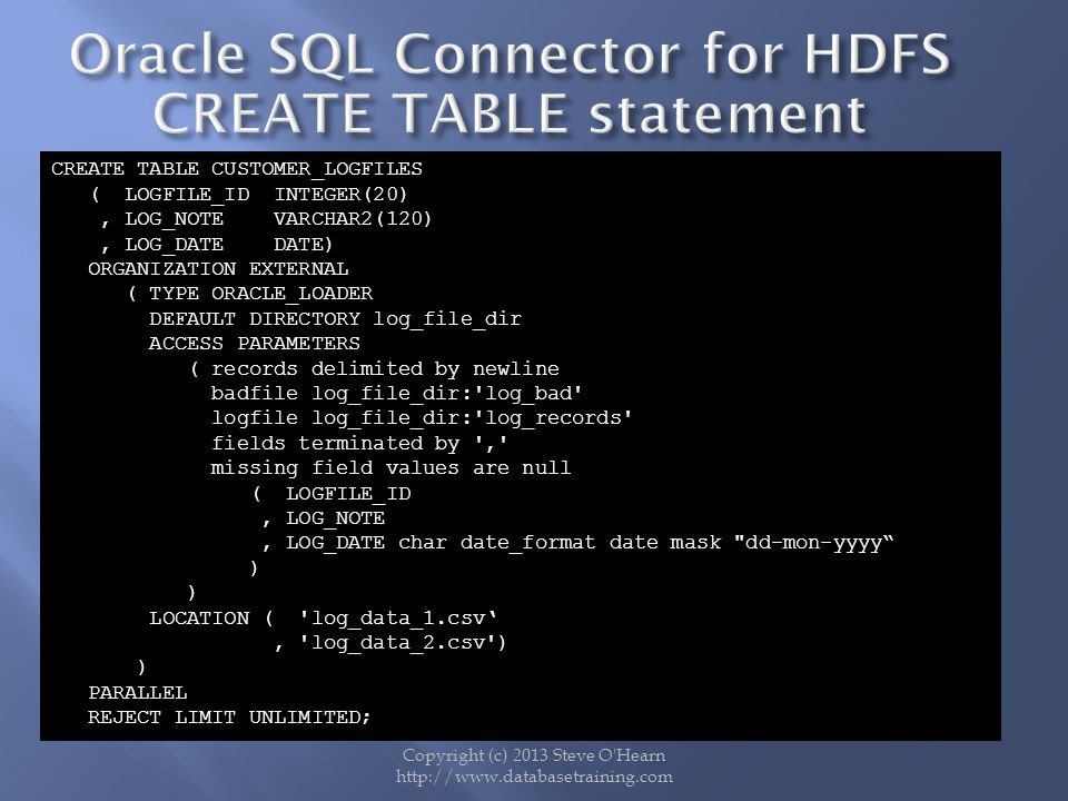 Oracle SQL Connector for HDFS CREATE TABLE statement