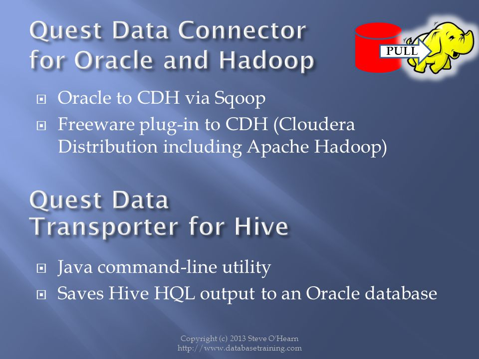 Quest Data Connector for Oracle and Hadoop