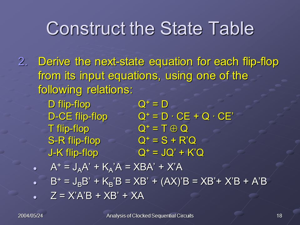 Construct the State Table
