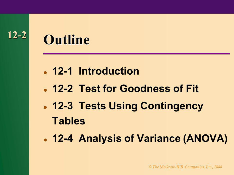 Outline Introduction 12-2 Test for Goodness of Fit