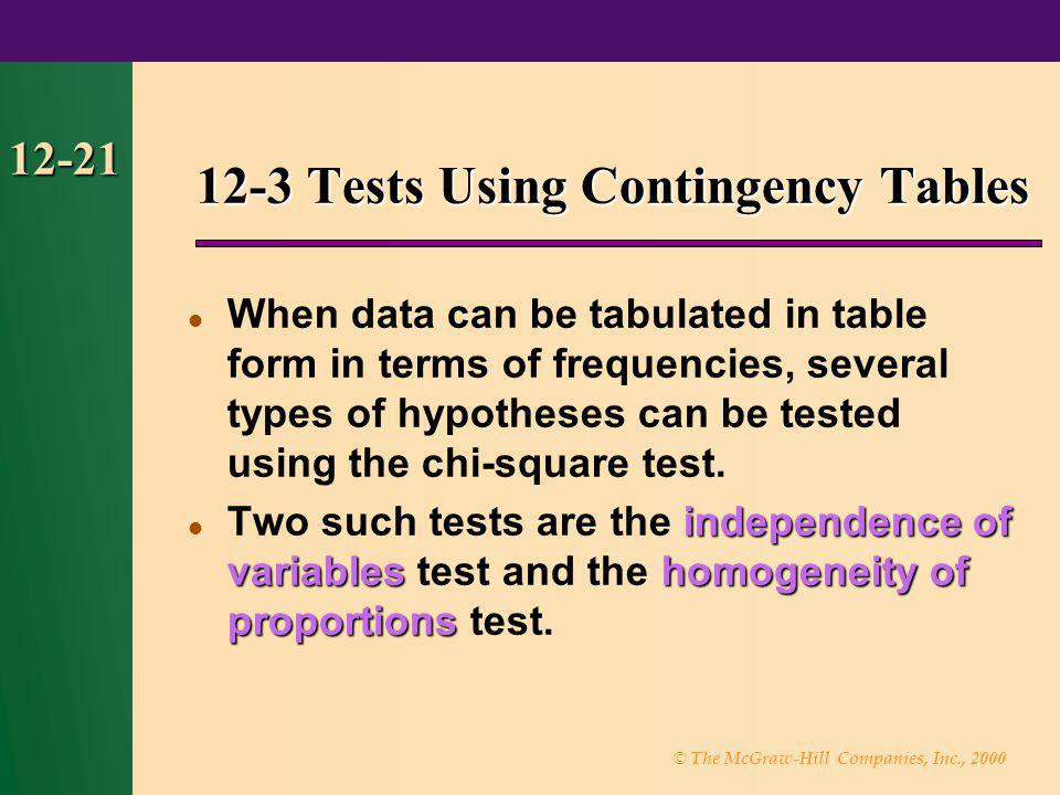 12-3 Tests Using Contingency Tables