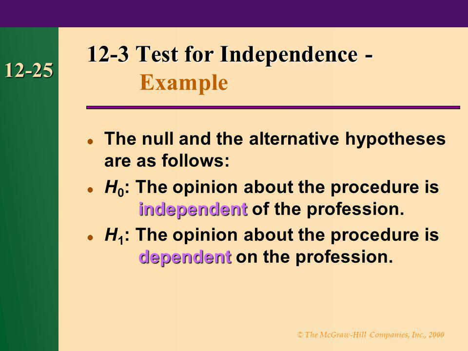 12-3 Test for Independence - Example