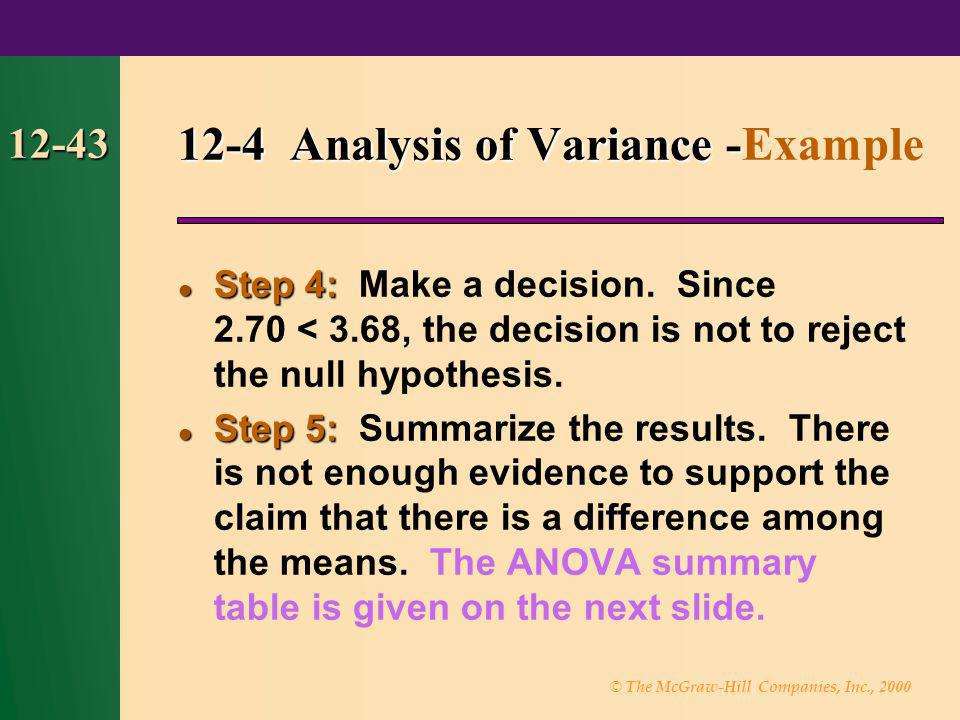 12-4 Analysis of Variance -Example