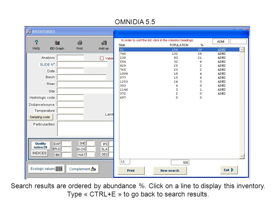 OMNIDIA 5.5 Search results are ordered by abundance %.