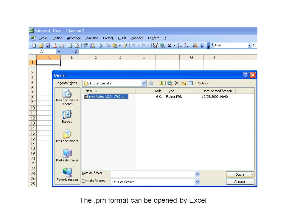 The .prn format can be opened by Excel