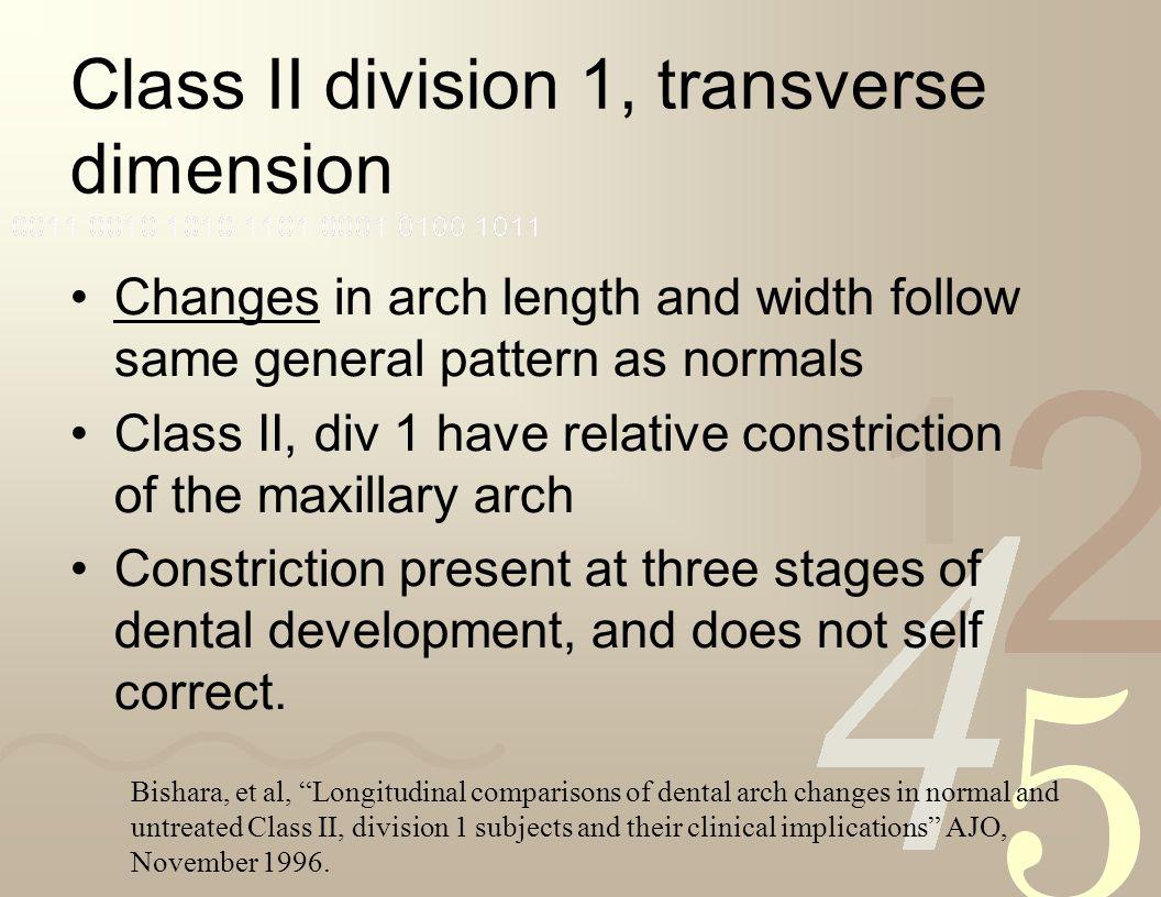 Class II division 1, transverse dimension