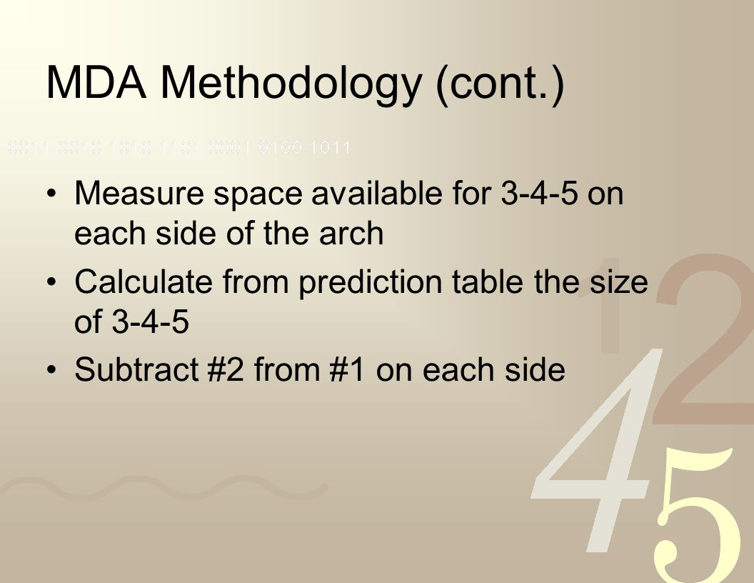 MDA Methodology (cont.)