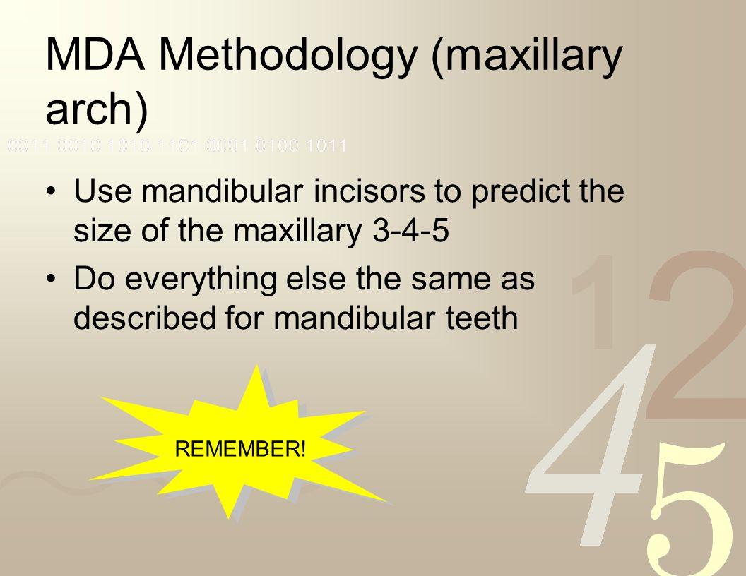 MDA Methodology (maxillary arch)