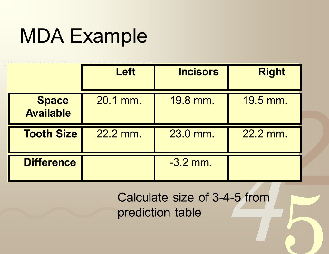 MDA Example Calculate size of 3-4-5 from prediction table Left