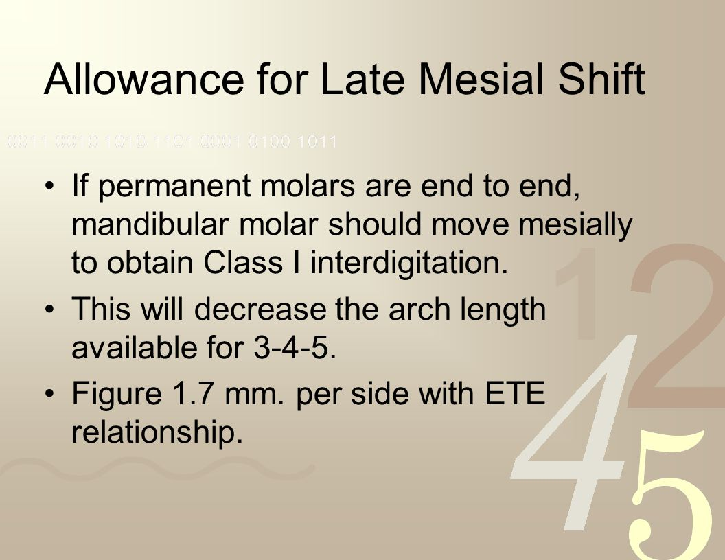 Allowance for Late Mesial Shift