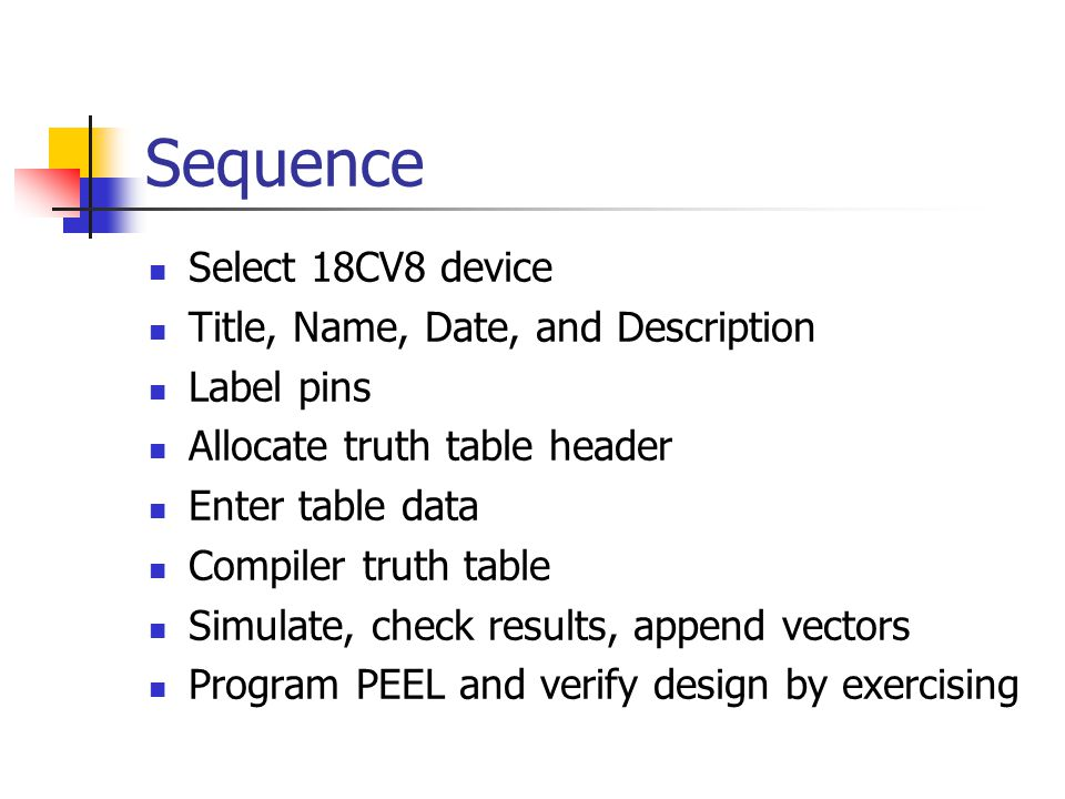 Sequence Select 18CV8 device Title, Name, Date, and Description