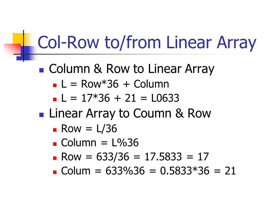 Col-Row to/from Linear Array