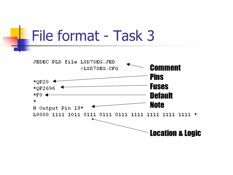 File format - Task 3 Comment Pins Fuses Default Note Location & Logic