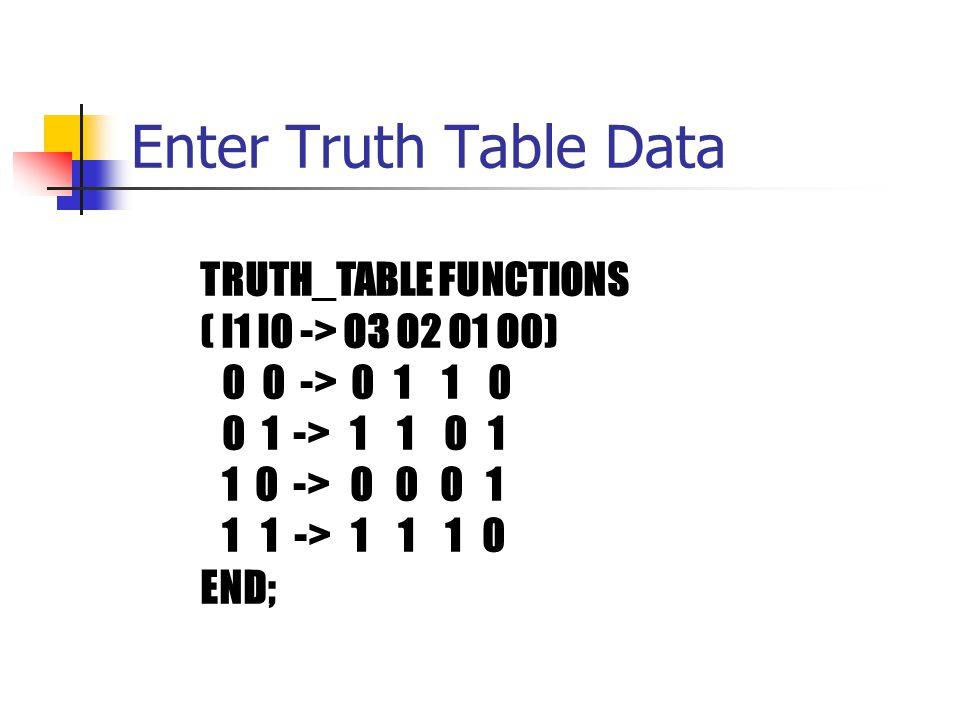 Enter Truth Table Data TRUTH_TABLE FUNCTIONS