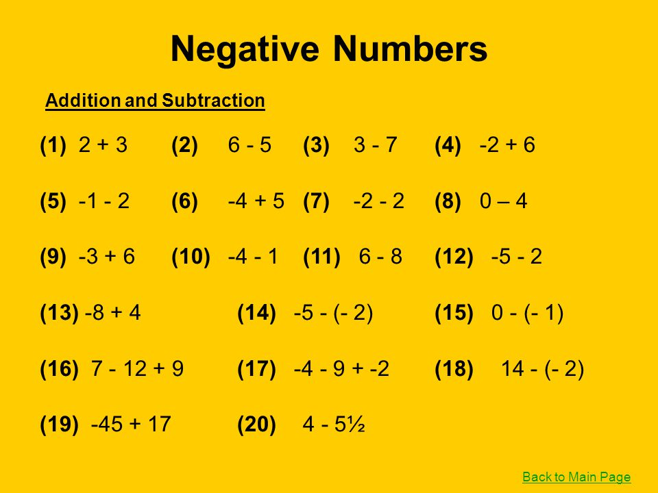 Negative Numbers (1) 2 + 3 (2) 6 - 5 (3) 3 - 7 (4) -2 + 6