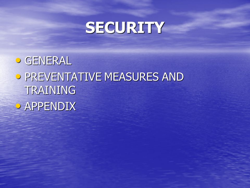SECURITY GENERAL PREVENTATIVE MEASURES AND TRAINING APPENDIX