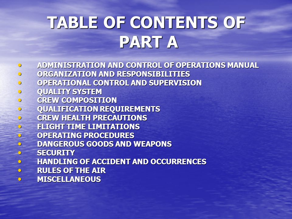 TABLE OF CONTENTS OF PART A