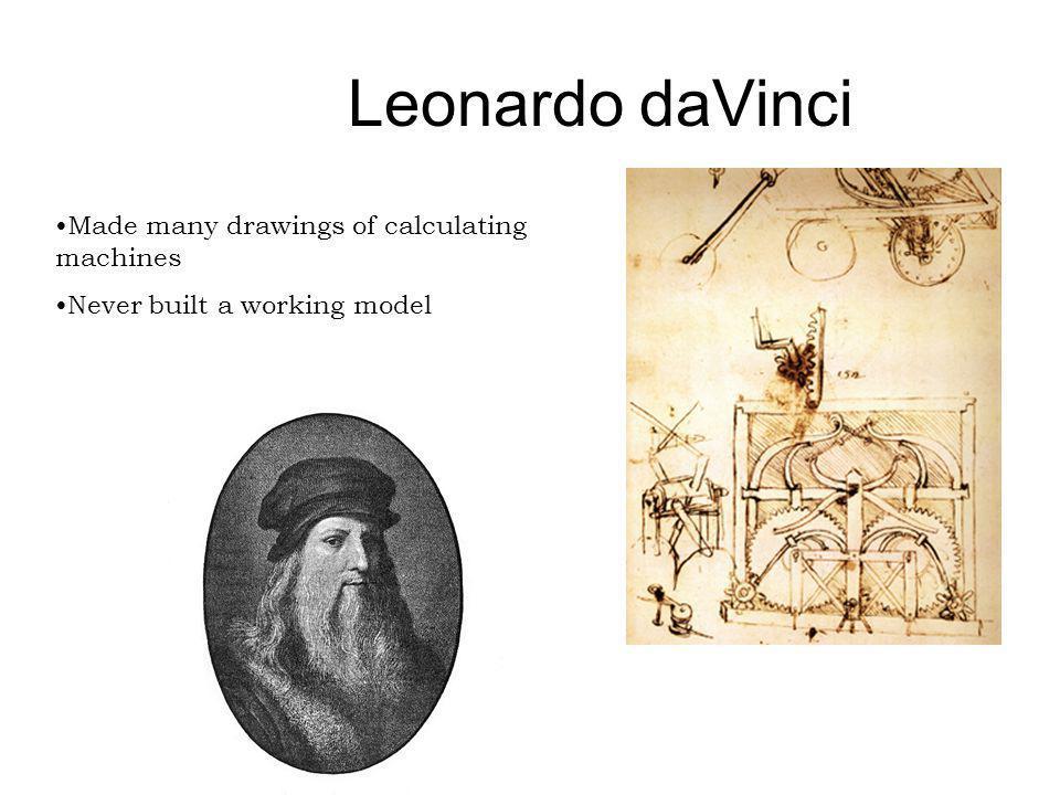 Leonardo daVinci Made many drawings of calculating machines