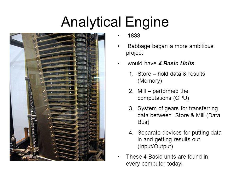 Analytical Engine 1833 Babbage began a more ambitious project