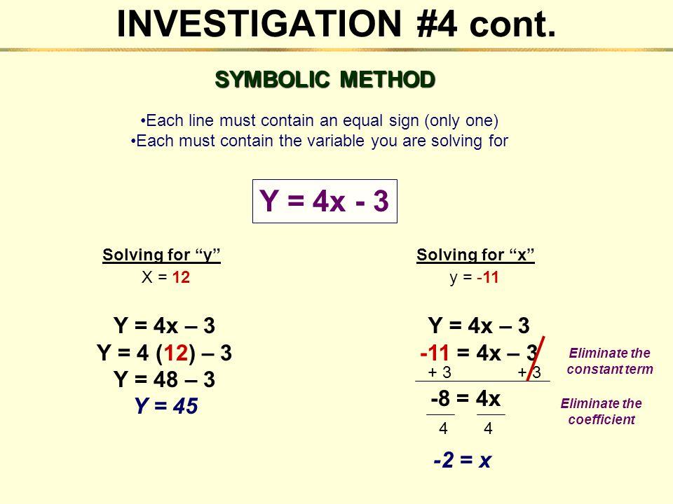 Eliminate the constant term Eliminate the coefficient