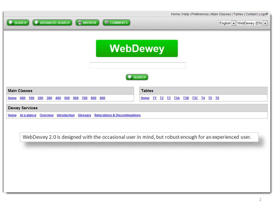 WebDewey 2.0 is designed with the occasional user in mind, but robust enough for an experienced user.