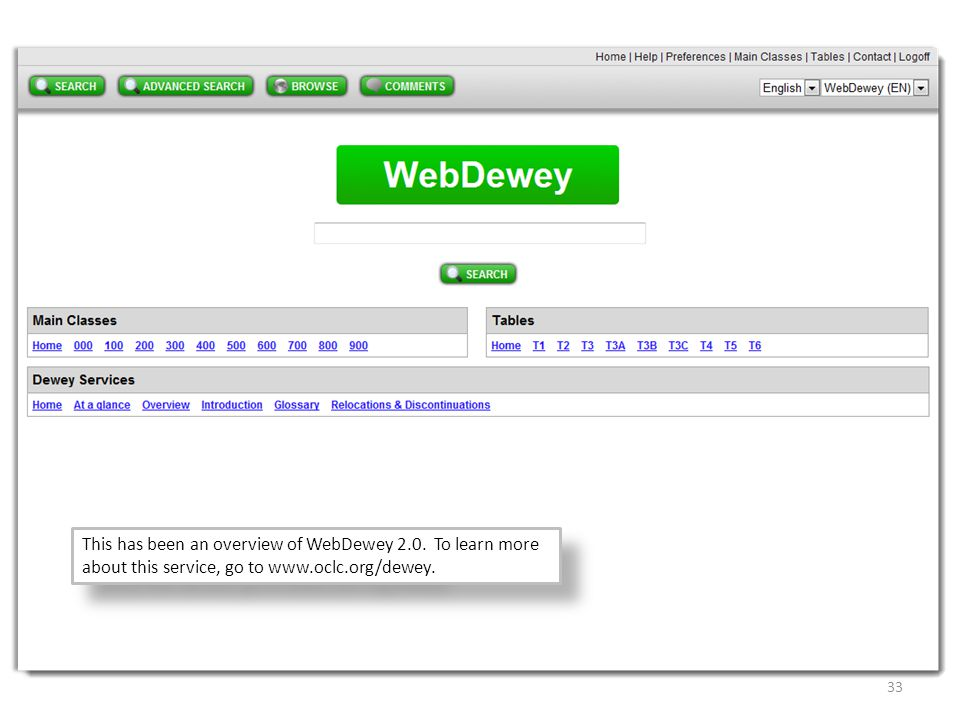 www.oclc.org/dewey This has been an overview of WebDewey 2.0. To learn more about this service, go to www.oclc.org/dewey.