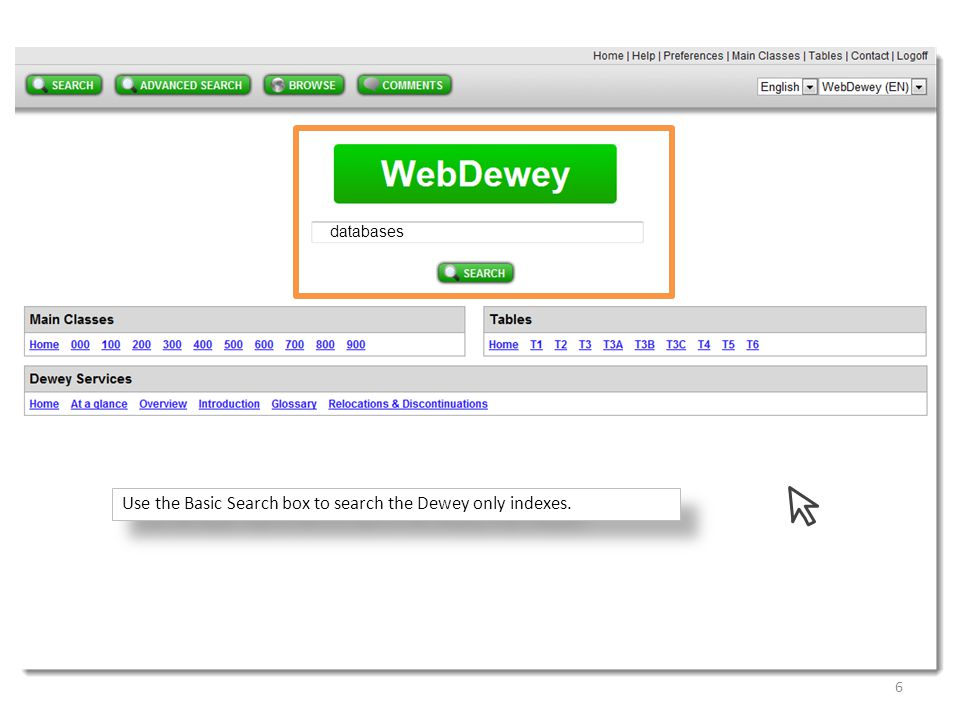 Use the Basic Search box to search the Dewey only indexes.