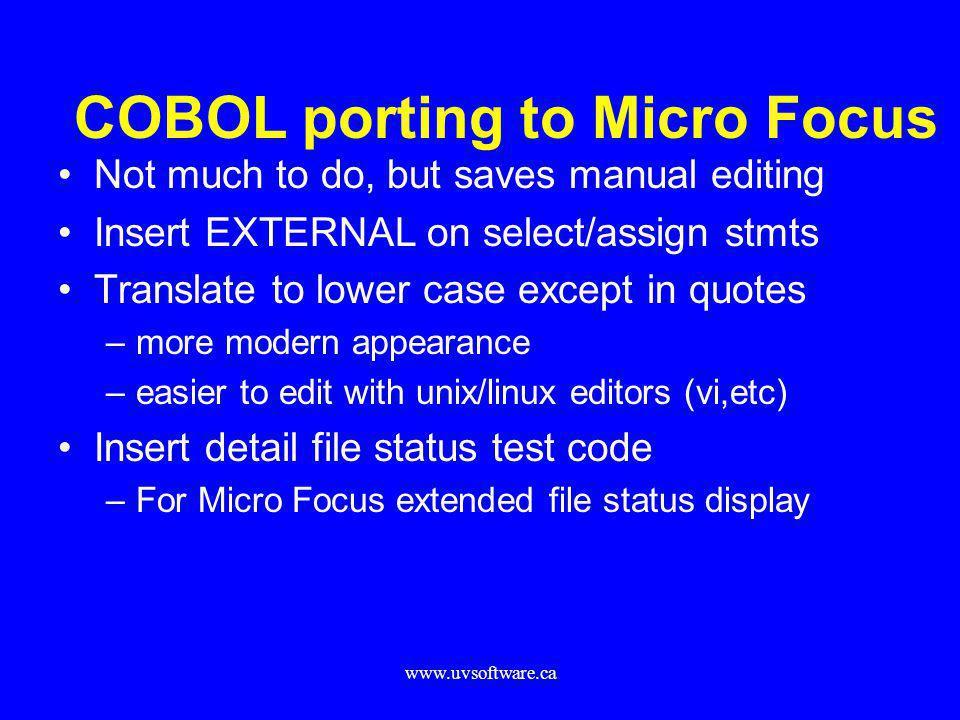 COBOL porting to Micro Focus