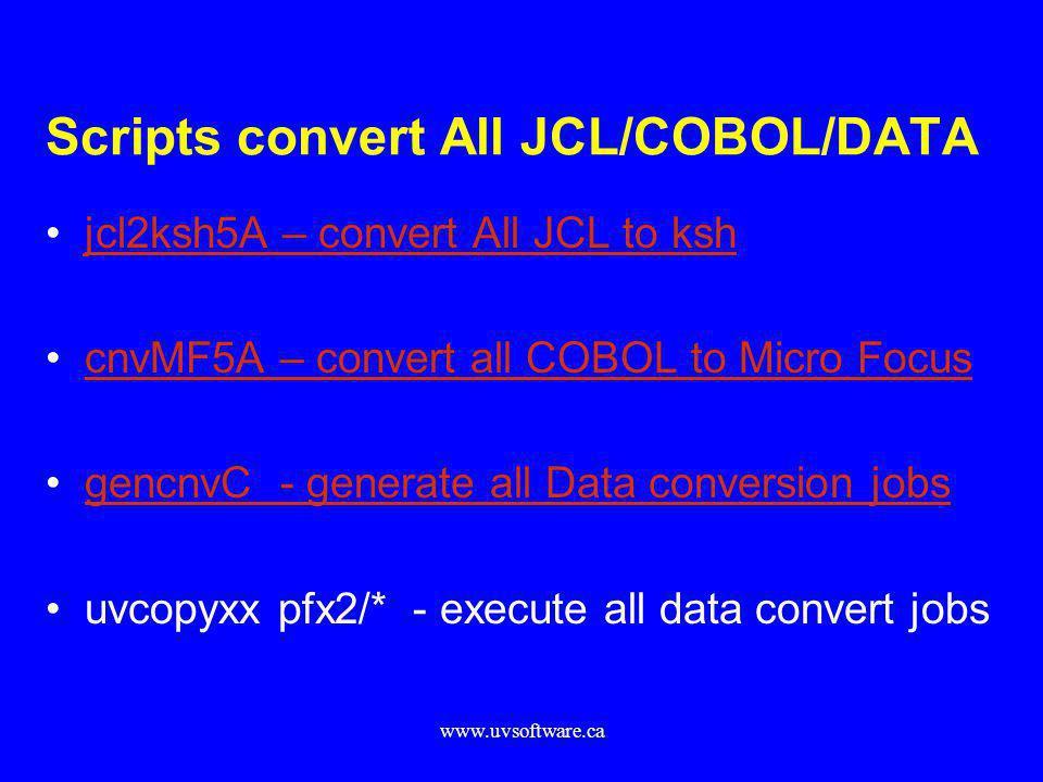 Scripts convert All JCL/COBOL/DATA