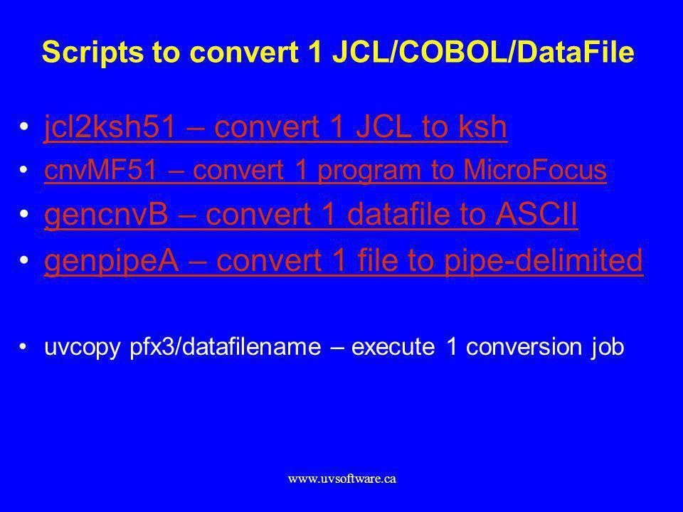 Scripts to convert 1 JCL/COBOL/DataFile