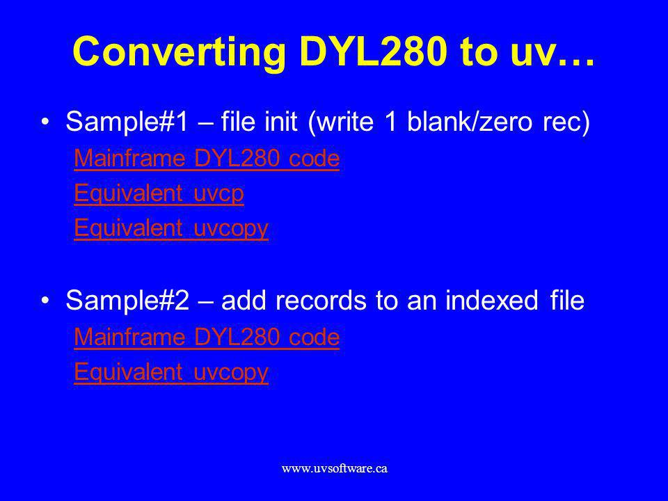 Converting DYL280 to uv… Sample#1 – file init (write 1 blank/zero rec)