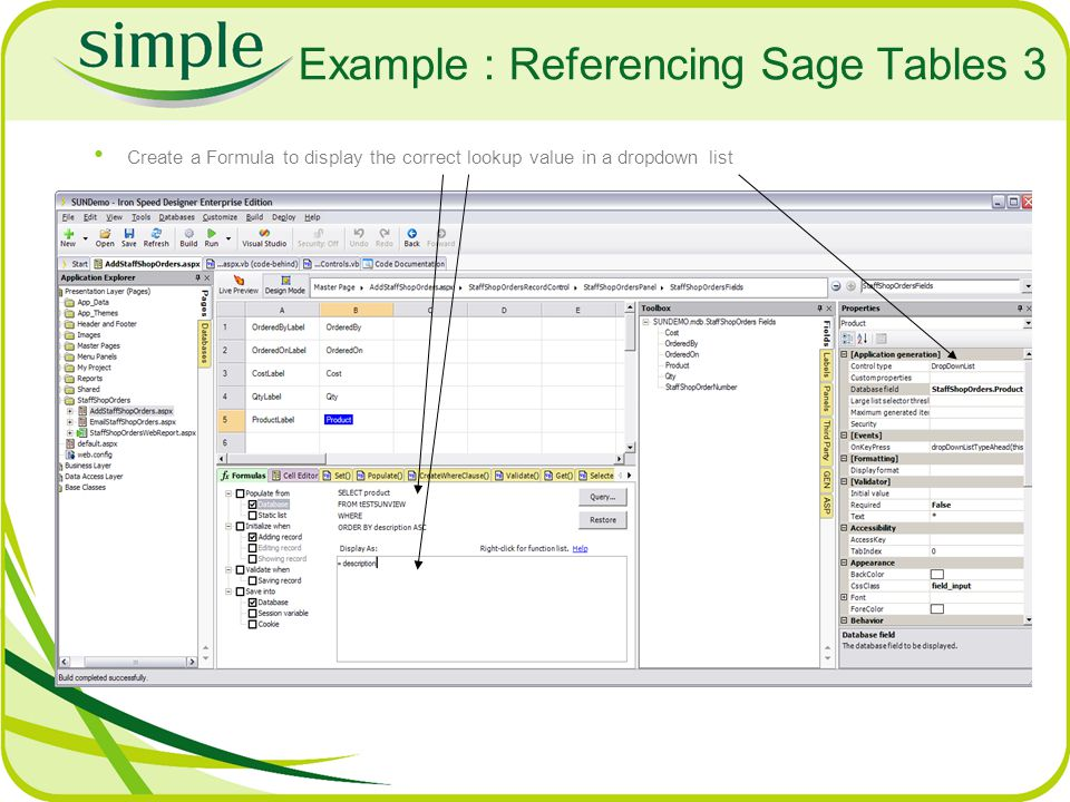 Example : Referencing Sage Tables 3