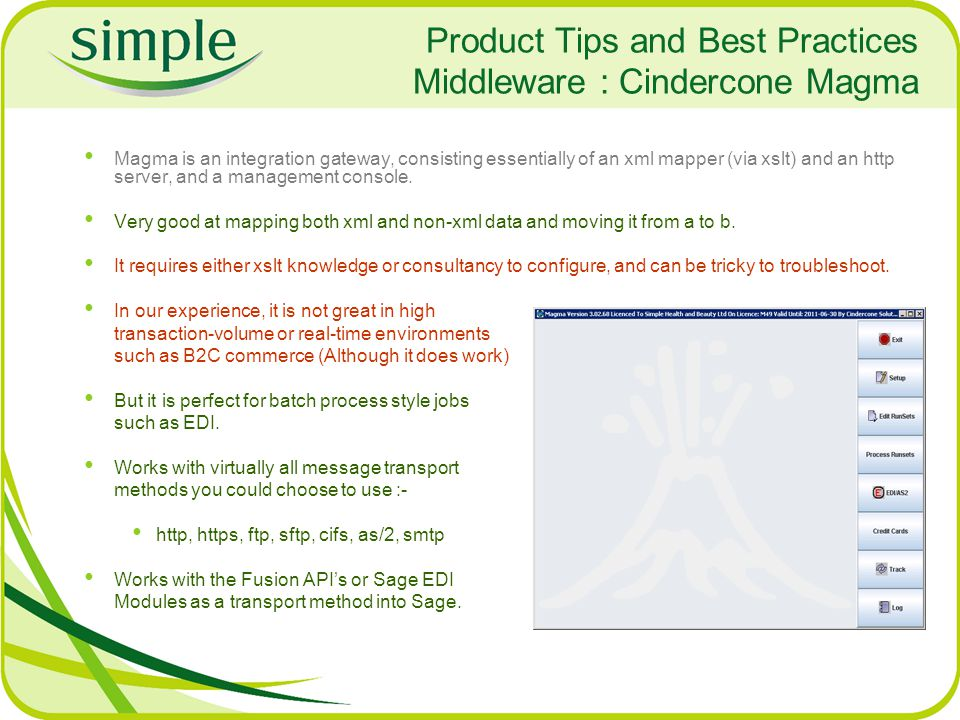 Product Tips and Best Practices Middleware : Cindercone Magma