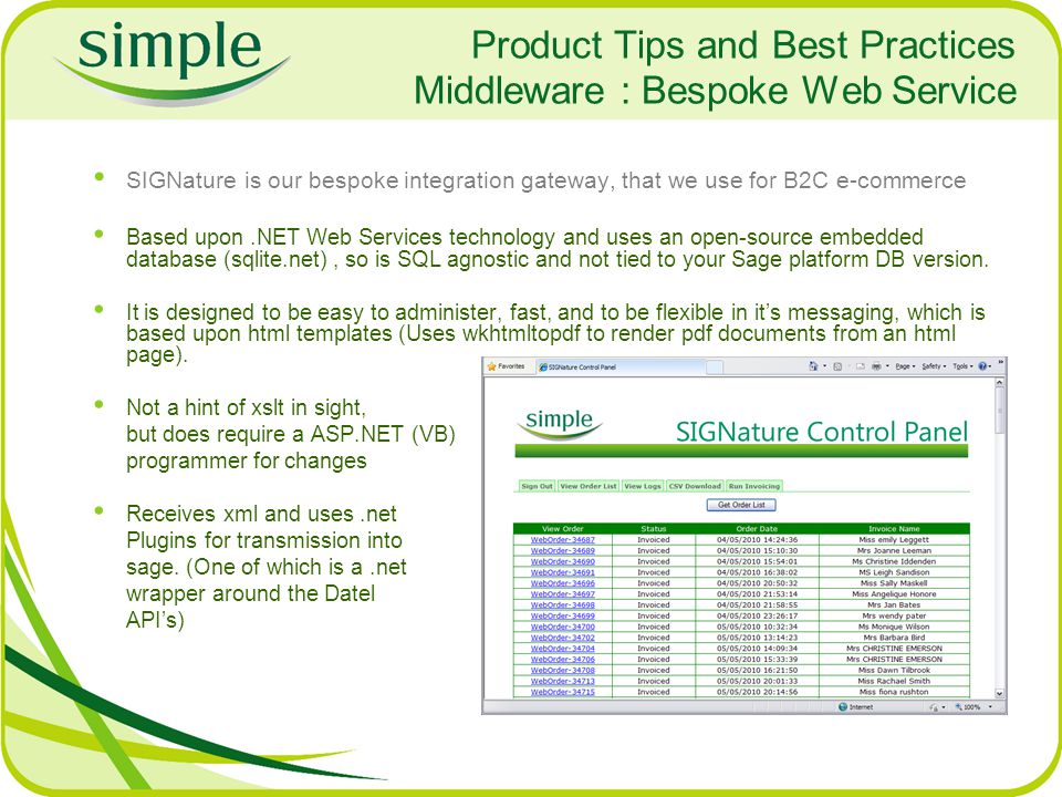 Product Tips and Best Practices Middleware : Bespoke Web Service