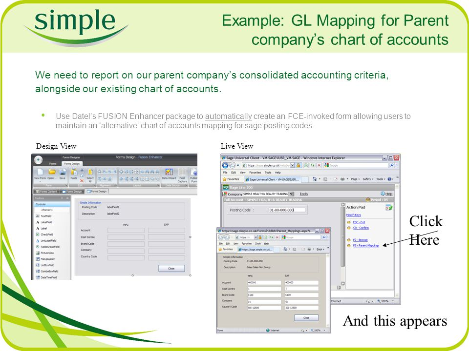 Example: GL Mapping for Parent company's chart of accounts