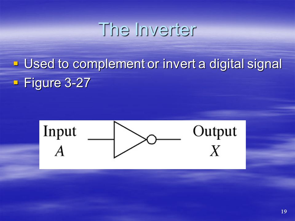 The Inverter Used to complement or invert a digital signal Figure 3-27