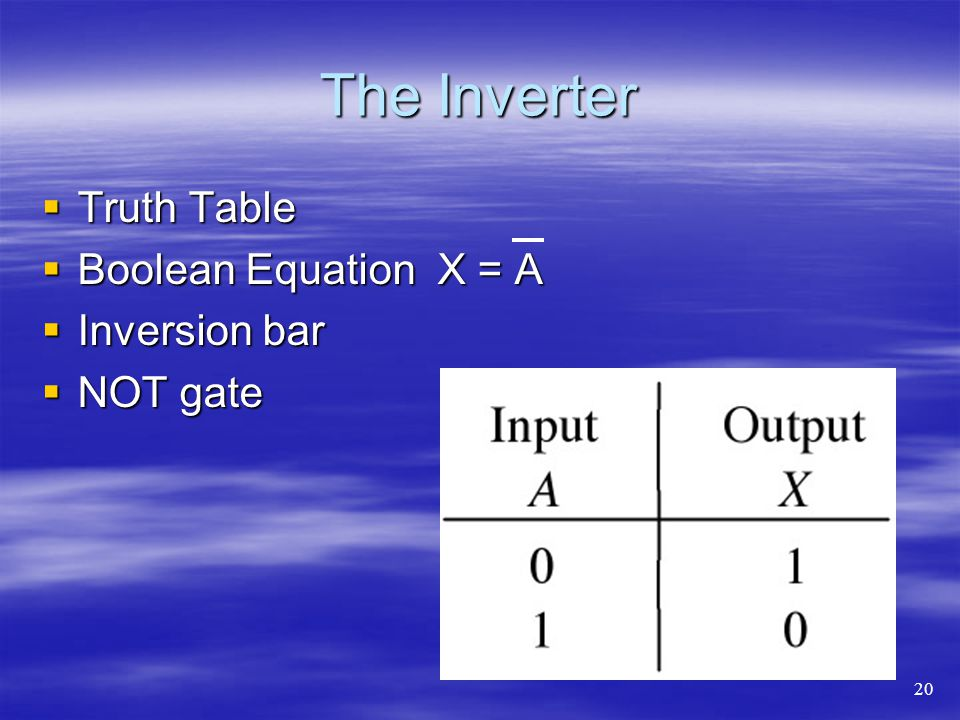 The Inverter Truth Table Boolean Equation X = A Inversion bar NOT gate