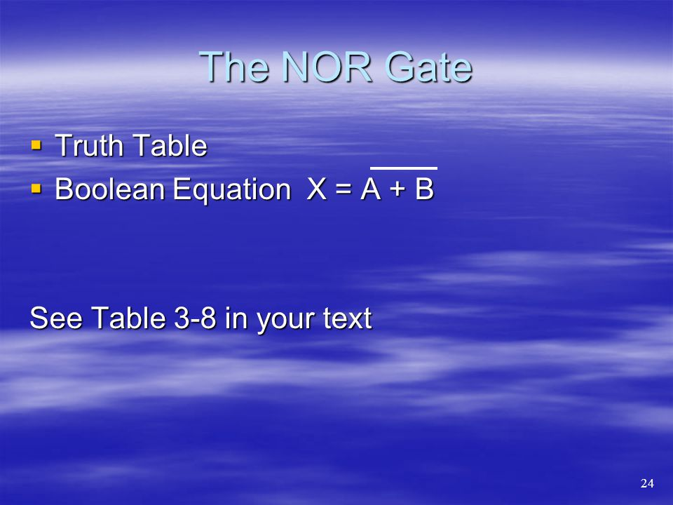 The NOR Gate Truth Table Boolean Equation X = A + B
