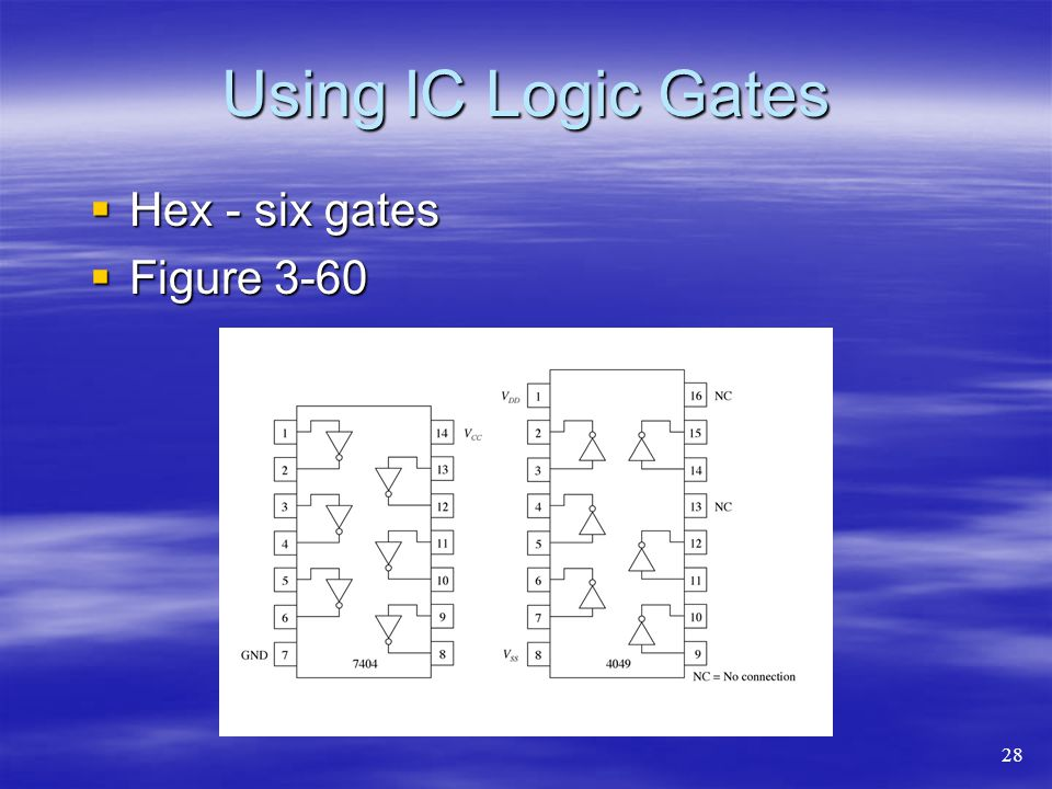 Using IC Logic Gates Hex - six gates Figure