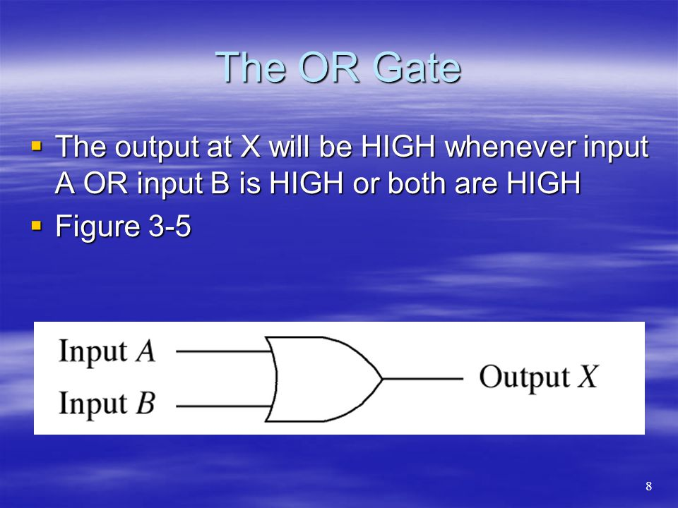 The OR Gate The output at X will be HIGH whenever input A OR input B is HIGH or both are HIGH. Figure 3-5.