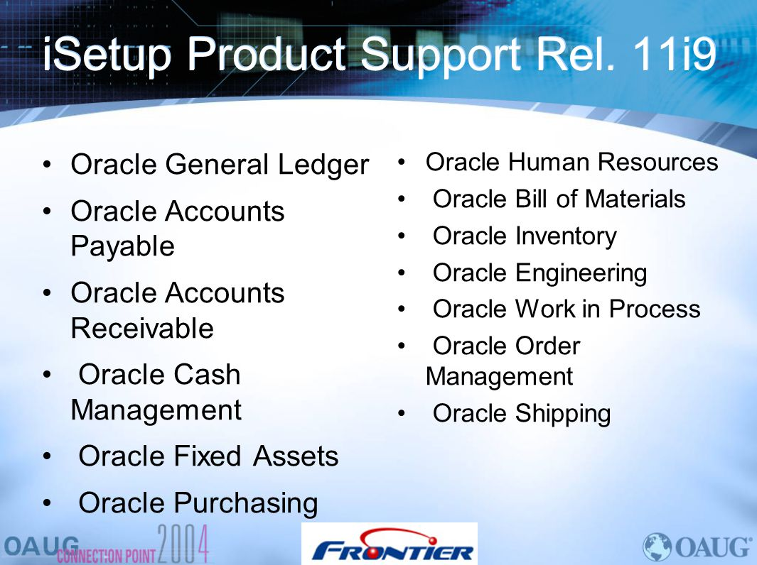 iSetup Product Support Rel. 11i9