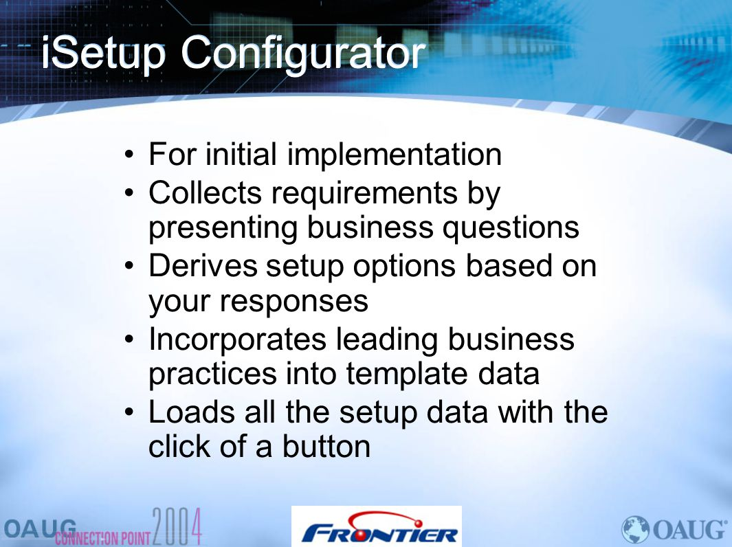 iSetup Configurator For initial implementation