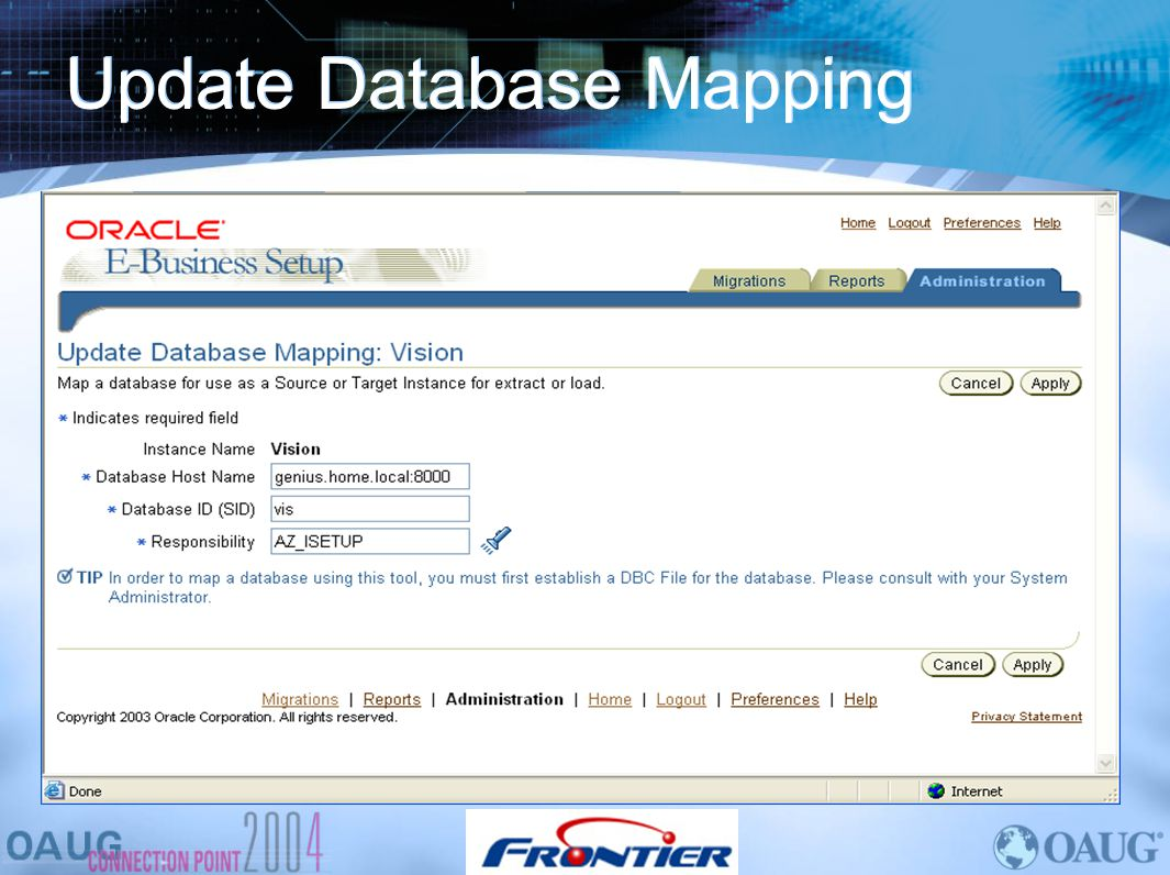 Update Database Mapping